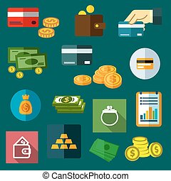 Finance, business and money flat icons of dollar bills and...