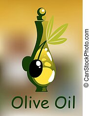 Olive oil bottle with rounded stopper and ripe black olive...
