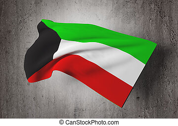 Kuwait flag - 3d rendering of a Kuwait flag on a dirty...