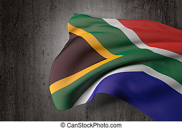 South Africa flag - 3d rendering of a South Africa flag on a...