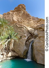 Waterfall in Oasis between the rocks tunisia. Panoramic...