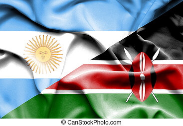 Waving flag of Kenya and Argentina