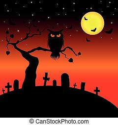 Halloween background with silhouettes