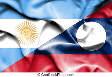Waving flag of Laos and Argentina