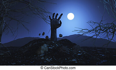 3D zombie hand bursting out of the ground - 3D Halloween...