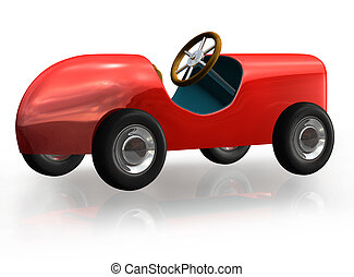 Toy Car - Little red toy car in 3D, isolated