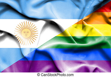Waving flag of Pride and Argentina