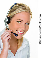 woman with headset in customer service - young woman with...