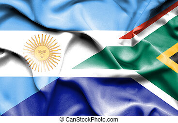 Waving flag of South Africa and Argentina