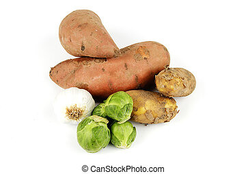 Sweet Potato with Sprouts, Garlic and Potatoes - Two raw...