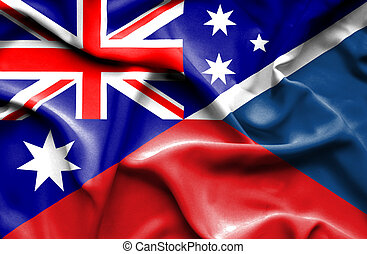 Waving flag of Czech Republic and Australia