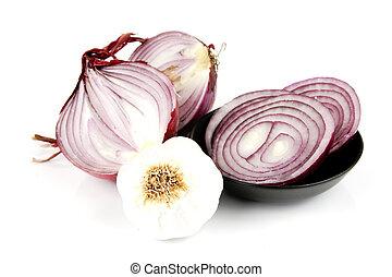 Red Onion Cut in Half with Garlic