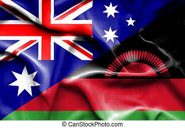 Waving flag of Malawi and Australia - Waving flag of Malawi...