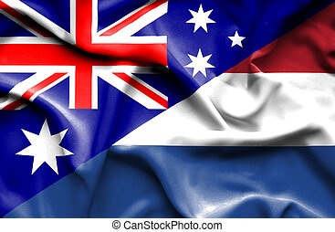Waving flag of Netherlands and Australia