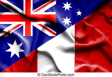 Waving flag of Peru and Australia - Waving flag of Peru and