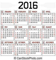 Year 2016 Calendar - A monthly calendar for the year 2016 on...