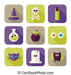 Flat Scary Halloween Witch Squared App Icons Set