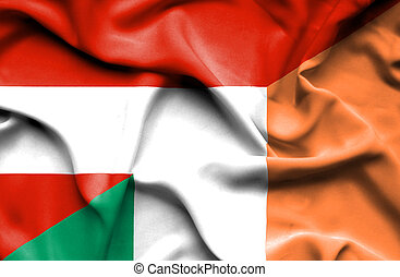 Waving flag of Ireland and Austria