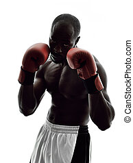 man boxers boxing isolated silhouette