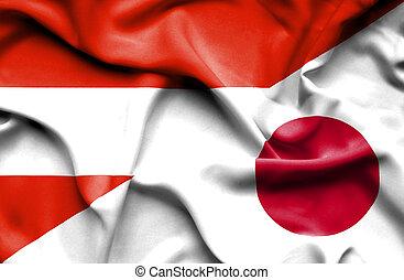 waving, bandeira, de, Japão, e, Áustria,