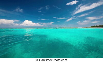 Clean lagoon on a tropical island - Clean turquise lagoon on...