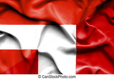 Waving flag of Peru and Austria
