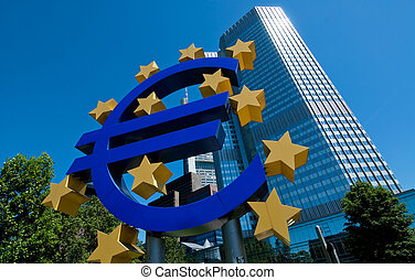 The European Central Bank in Frankfurt - The Euro Symbol in...