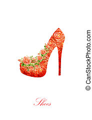 Silhouette of a women shoes, from water color roses. - Shoes...