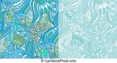 Blue Patterns with Owls in the Forest