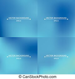 Set of four bright blurry backgrounds