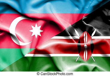 Waving flag of Kenya and Azerbaijan