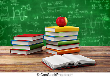 3d books and apple, school background