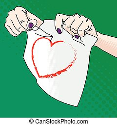 Vector illustration of female hands tearing paper with a...