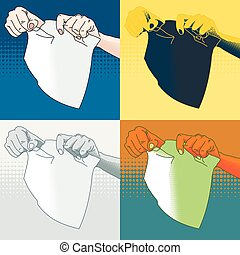 Four vector illustration of female hands tearing paper