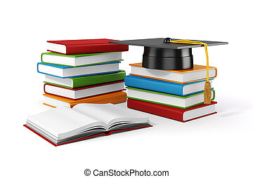 3d books and student cap on white background
