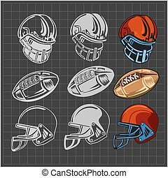 American football - vector elements for emblem