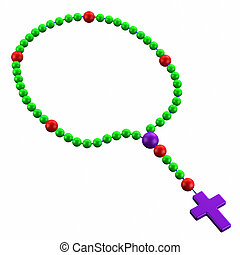 Rosary, isolated on white background. 3D render.