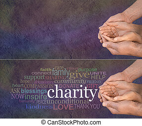 Please Help our Charity - Wide banner with a man's hands...
