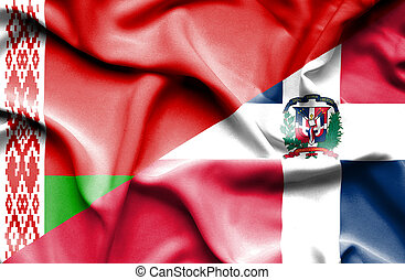 Waving flag of Dominican Republic and Belarus