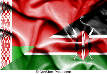 Waving flag of Kenya and Belarus