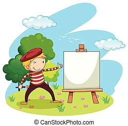 Artist painting on canvas