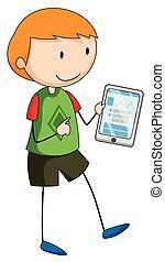 Boy holding a gadget  illustration