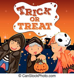 Halloween theme with kids trick or treat