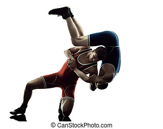 wrestlers wrestling men isolated silhouette - two caucasian...
