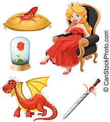Fairy tales characters in red illustration