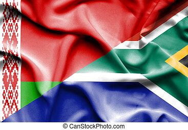 Waving flag of South Africa and Belarus