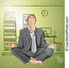 Businessman in Lotus Pose Meditating - Relax concept...
