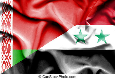 Waving flag of Syria and Belarus