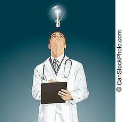 Doctor Man With Clipboard - doctor man writing something,...