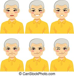 Senior Man Face Expressions - Senior adult man making six...